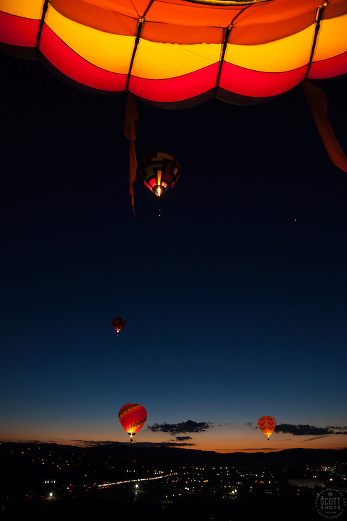 """Dawn Patrol 6"" - Photograph of the Dawn Patrol hot air balloons at the 2012 Great Reno Balloon Race. Photographed from a hot air balloon."