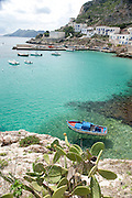 Turqoise waters in the port of Levanzo, the Aegadian Islands (Isole Egadi), western Sicily, Italy.
