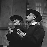 """Rome, 1960. Italian comic actors Peppino De Filippo and Totò (Antonio De Curtis) as priests on the set of the movie """"Signori si nasce"""" (Genltemen are born) / Roma, 1960.  Gli attori Peppino De Filippo e Totò vestiti da prete sul set del film """"Signori si nasce"""" - Marcello Mencarini Historical Archives"""