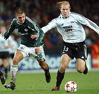 Champions League Trondheim 24.11.2004, Rosenborg ( RBK ) – Panathinaikos 2-2, Rudolf Skacel og Mikael Dorsin<br /><br />Foto: Carl-Erik Eriksson, Digitalsport
