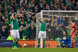 DUBLIN, REPUBLIC OF IRELAND - Friday, March 24, 2017: Republic of Ireland's James McClean reacts after missing a chance during the 2018 FIFA World Cup Qualifying Group D match against Wales at the Aviva Stadium. (Pic by David Rawcliffe/Propaganda)
