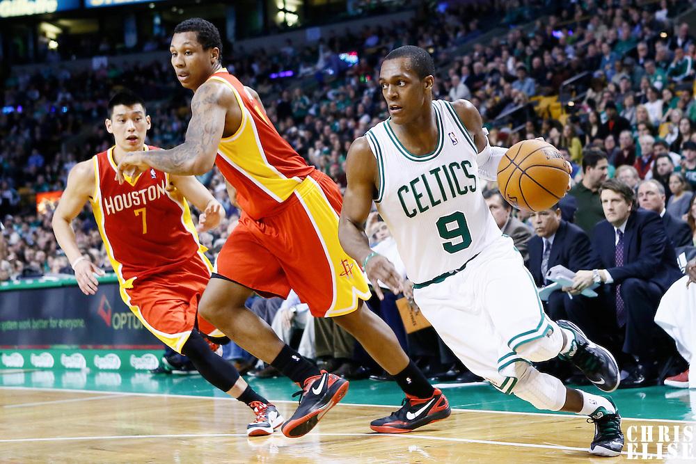 11 January 2013: Boston Celtics point guard Rajon Rondo (9) drives past Houston Rockets power forward Marcus Morris (2) during the Boston Celtics 103-91 victory over the Houston Rockets at the TD Garden, Boston, Massachusetts, USA.