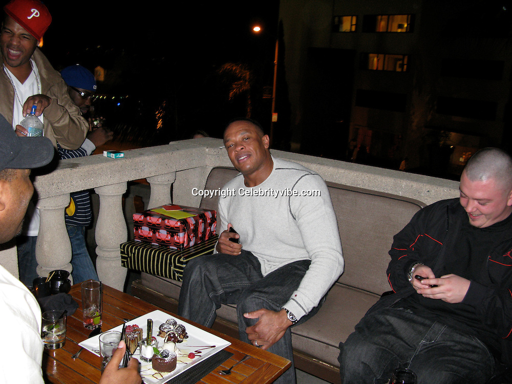 **EXCLUSIVE**.Dr. Dre celebrating his birthday with friends..Rapper Dr. Dre 44th Birthday Party..Katana Restaurant..Hollywood, CA, USA..Wednesday, February 18, 2009..Photo By Celebrityvibe.com.To license this image please call (212) 410 5354; or Email: celebrityvibe@gmail.com ;.website: www.celebrityvibe.com..