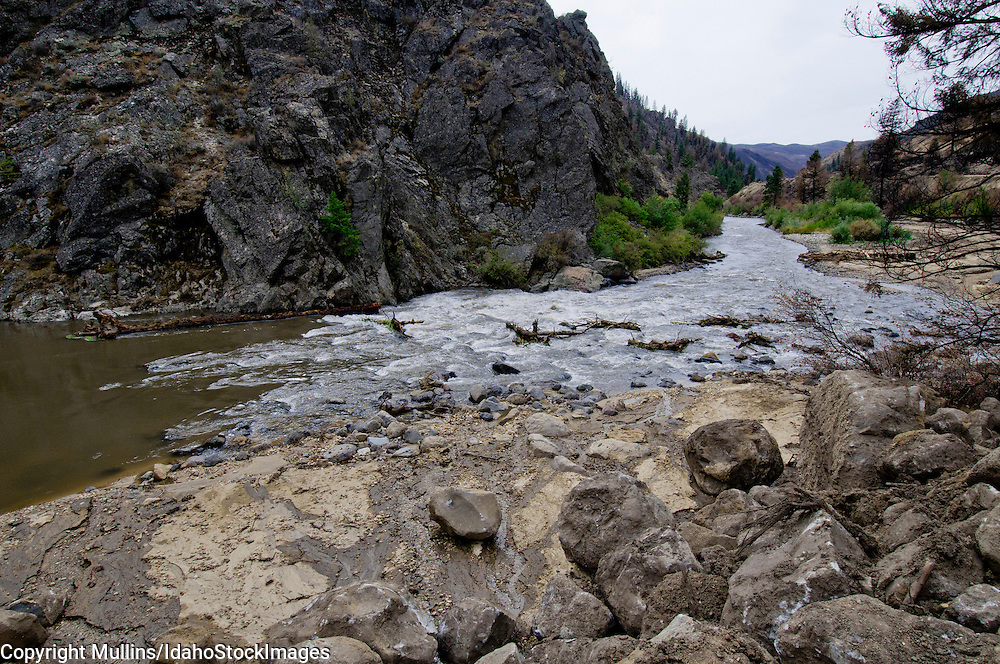 Landslide along South Fork Boise River, Idaho after Elk Complex Fire in August 2013
