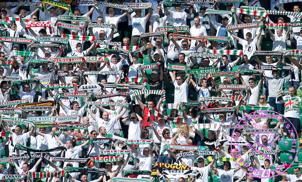Legia's supporters during T-Mobile Extraleague soccer match between Legia Warsaw and Lechia Gdansk at Pepsi Arena in Warsaw, Poland...Poland, Warsaw, May 05, 2013..Picture also available in RAW (NEF) or TIFF format on special request...For editorial use only. Any commercial or promotional use requires permission...Photo by © Adam Nurkiewicz / Mediasport