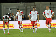 SZCZECIN 11/08/2010.FOOTBALL INTERNATIONAL FRIENDLY.POLAND v CAMEROON.A dejected Polish players after the game ..Fot: Piotr Hawalej / WROFOTO