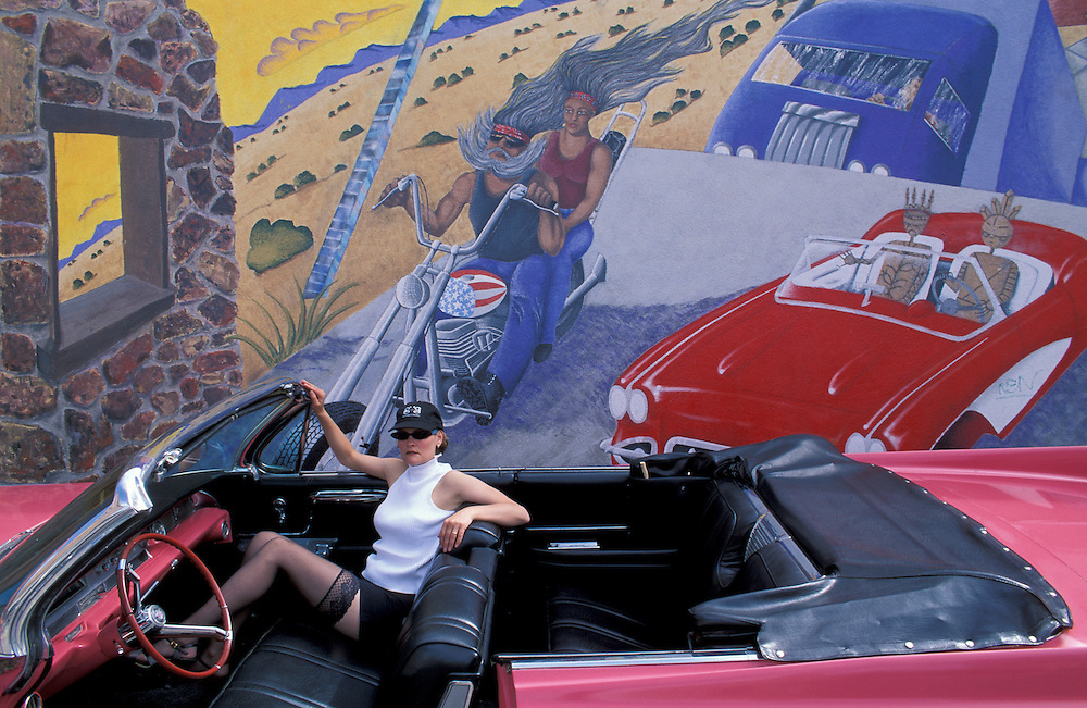 Girl in 1962 Pink Cadillac, mural, Albuquerque,New Mexico,USA