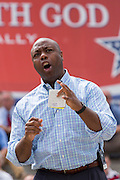"U.S. Senator Tim Scott (R-SC) addresses a gathering of evangelical Christians during the ""Stand With God"" rally  August 29, 2015 in Columbia, SC. Thousands of conservative Christians gathered at the State House to rally against gay marriage and listen to GOP presidential candidates Gov. Rick Perry and Sen. Ted Cruz speak."