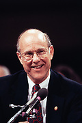 Senator Pat Roberts speaks on behalf of Congressmen Dan Glickman during the confirmation hearing for his nomination as Secretary of Agriculture March 23, 1995 in Washington, DC.