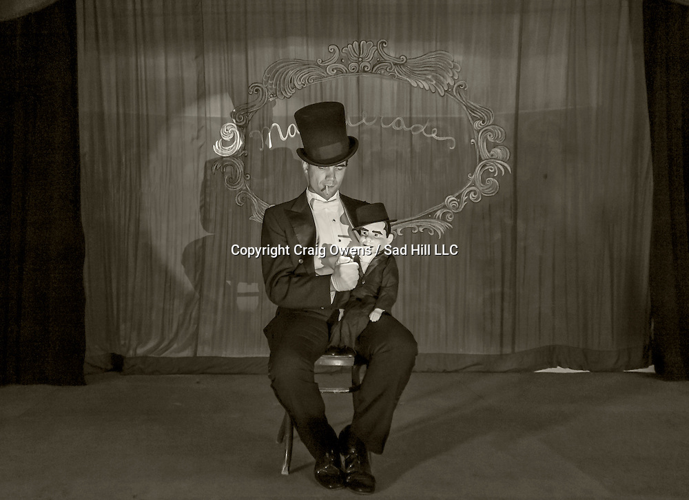 A smoking ventriloquist at the Amargosa Opera House in Death Valley Junction.