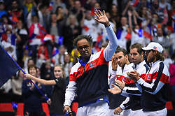 Yannick Noah (FRA) during double at the Davis Cup first round tie against Netherlands, in Albertville, halle Olympique, France on february, 3, 2018. Photo by Corinne Dubreuil/ABACAPRESS.COM