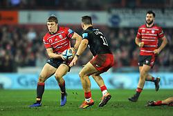 Ollie Thorley of Gloucester Rugby tries to get past Alex Lewington of Saracens- Mandatory by-line: Nizaam Jones/JMP - 22/02/2019 - RUGBY - Kingsholm - Gloucester, England- Gloucester Rugby v Saracens - Gallagher Premiership Rugby