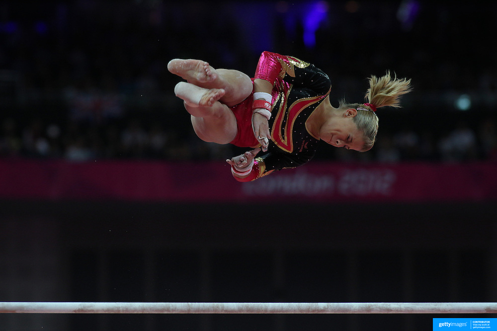 Elisabeth Seitz, Germany, in action on the Uneven Bars during the Women's Individual All-Around competition at North Greenwich Arena, during the London 2012 Olympic games. London, UK. 2nd August 2012. Photo Tim Clayton