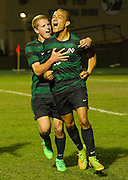 #15 Jacob Jerles celebrating a his goal with teammate #17 Carson Cacciatore as Irish take a 2-1 lead in the second half - Nicholas Rutledge / For The Transcript