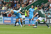 Ryan Broom and Georhe Cooper  during the EFL Sky Bet League 2 match between Plymouth Argyle and Cheltenham Town at Home Park, Plymouth, England on 21 September 2019.