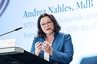 13 SEP 2018, BERLIN/GERMANY:<br /> Andrea Nahles, SPD Fraktions- und Parteivorsitzende, haelt eine Rede,  Mitgliederversammlung SPD Wirtschaftsforum, Maritim proArte Hotel<br /> IMAGE: 20180913-02-097