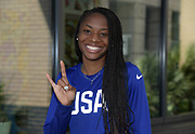 Courtney Okkolo (USA) poses with Texas Longhorns hook 'em horns sign  prior to the Athletics World Cup, Friday, July 13, 2018, in London, United Kingdom.
