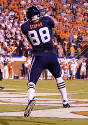 Virginia tight end Jonathan Stupar (88) comes down with a touchdown catch against Pitt...The Virginia Cavaliers faced the Pittsburgh Panthers at Scott Stadium in Charlottesville, VA on September 29, 2007.