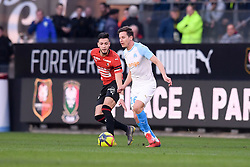 February 24, 2019 - Rennes, France - 26 FLORIAN THAUVIN (OM) - 15 RAMY BENSEBAINI  (Credit Image: © Panoramic via ZUMA Press)