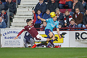 Hearts FC Defender Callum Paterson putting in a rough tackle as the ball is crossed during the Ladbrokes Scottish Premiership match between Heart of Midlothian and Hamilton Academical FC at Tynecastle Stadium, Gorgie, Scotland on 7 November 2015. Photo by Craig McAllister.