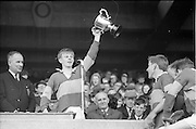 12/05/1968<br /> 05/12/1968<br /> 12 May 1968<br /> All-Ireland Vocational Schools Hurling Final: Tipperary N. v Antrim at Croke Park, Dublin.<br /> L. O'Gamhna of Thurles, Captain of the Tipperary N. team Waves the cup after his team won the All-Ireland Vocational Schools Hurling Final at Croke Park.