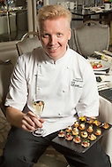Photography of the food intended for the menu for dinner at the Grosvenor House Hotel affter the EE British Academy Film Awards on Sunday 14th February 2016. Anton Mangaro - Head chef at 195 Piccadilly (BAFTA)