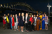 Wednesday 5 August - Captain's Call at the Luna Park Welcome Function of Netball World Cup 2015 SYDNEY.<br /> Captain's Call at the Luna Park Welcome Function.  L-R TTO Joelisa Cooper, JAM Nicole Aiken-Pinnock, FIJ Mere Rabuka Neiliko, SIN Qingyi Lin, RSA Maryka Holtzhausen,  ENG Geva Mentor, AUS Laura Geitz, NZL Casey Kopua, ZAM Annie Mukamba, WAL Suzy Drane, MA<br />  Photo: Narelle Spangher (NWC2015 Media)<br /> For editorial news use only