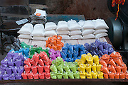 India, Maharashtra, Nashik Colourful dyes at the Market