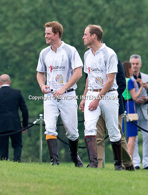 31.05.2014;Windsor: PRINCES WILLIAM &amp; HARRY<br /> play in the annual charity polo match at Coworth Polo Club, Windsor<br /> Mandatory Photo Credit: &copy;NEWSPIX INTERNATIONAL<br /> <br /> **ALL FEES PAYABLE TO: &quot;NEWSPIX INTERNATIONAL&quot;**<br /> <br /> PHOTO CREDIT MANDATORY!!: NEWSPIX INTERNATIONAL(Failure to credit will incur a surcharge of 100% of reproduction fees)<br /> <br /> IMMEDIATE CONFIRMATION OF USAGE REQUIRED:<br /> Newspix International, 31 Chinnery Hill, Bishop's Stortford, ENGLAND CM23 3PS<br /> Tel:+441279 324672  ; Fax: +441279656877<br /> Mobile:  0777568 1153<br /> e-mail: info@newspixinternational.co.uk