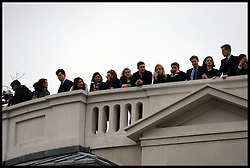People watch from the rooftops as Lady Thatcher's funeral takes place at St Paul's Cathedral following her death last week, London, UK, Wednesday 17 April, 2013, Photo by: Andrew Parsons / i-Images