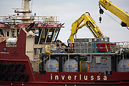 The Gina Mary, a supply ship working at a salmon farm on the west coast of Scotland.<br /> <br /> Photograph © Colin McPherson, 2019 all rights reserved