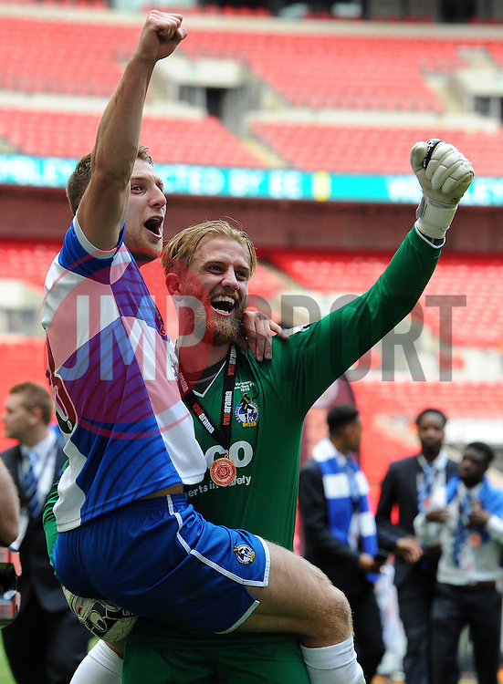 Bristol Rovers' Will Puddy celebrates with Bristol Rovers' Lee Brown - Photo mandatory by-line: Dougie Allward/JMP - Mobile: 07966 386802 - 17/05/2015 - SPORT - football - London - Wembley Stadium - Bristol Rovers v Grimsby Town - Vanarama Conference Football