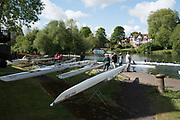 Maidenhead. Berkshire. United Kingdom. General view Competitors boats on slings beside, Maidenhead RC Boathouse. 2017 Maidenhead Junior Regatta  River Thames. <br />
