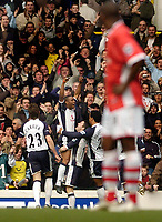 Photo: Leigh Quinnell.<br /> Tottenham Hotspur v Charlton Athletic. The Barclays Premiership. 05/02/2006. Tottenhams Jermaine Defoe celebrates his goal.