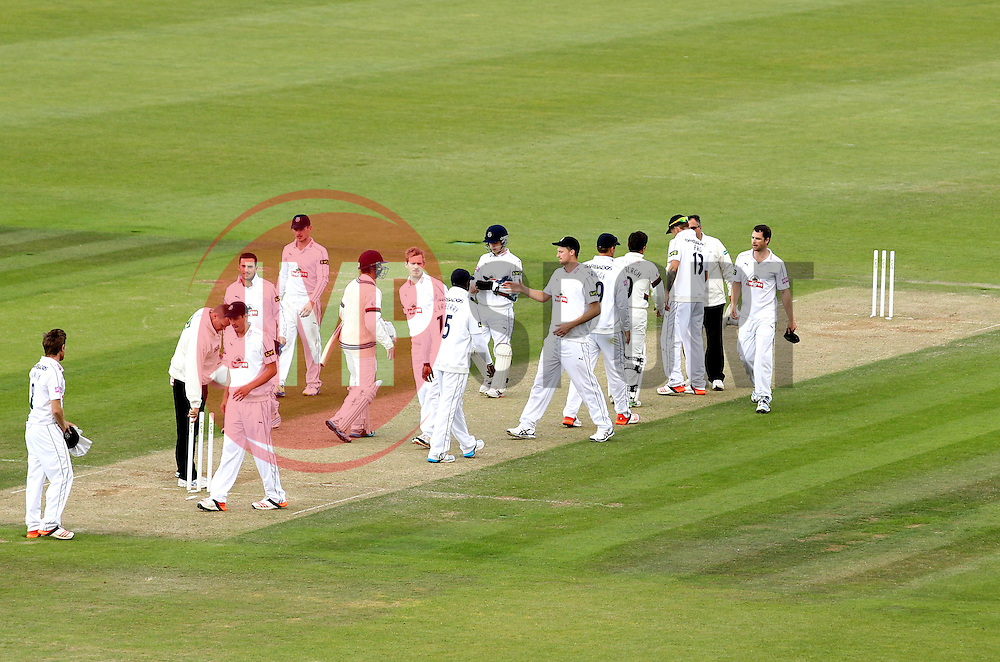 Somerset and Hampshire players shake hands after Somerset's win - Photo mandatory by-line: Robbie Stephenson/JMP - Mobile: 07966 386802 - 23/06/2015 - SPORT - Cricket - Southampton - The Ageas Bowl - Hampshire v Somerset - County Championship Division One
