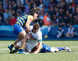 Pau's Dave Foley under pressure from  Cardiff Blues' Josh Navidi<br /> <br /> Photographer Simon King/Replay Images<br /> <br /> European Rugby Challenge Cup - Semi Final - Cardiff Blues v Pau - Saturday 21st April 2018 - Cardiff Arms Park - Cardiff<br /> <br /> World Copyright © Replay Images . All rights reserved. info@replayimages.co.uk - http://replayimages.co.uk