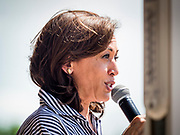 "04 JULY 2019 - INDIANOLA, IOWA: US Senator KAMALA HARRIS (D-CA) speaks to a crowd of about 200 people in Indianola Thursday afternoon. Sen. Harris attended a ""house party"" in Indianola as a part of her campaign to be the Democratic nominee for the US presidency in 2020. Iowa traditionally holds the first selection of the presidential election cycle. The Iowa caucuses are Feb. 3, 2020.       PHOTO BY JACK KURTZ"
