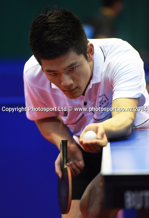New Zealand's Phillip Xiao training before the start of the Table Tennis competition at the Glasgow Commonwealth Games 2014. Scotland. Wednesday 23 July 2014.Photo:Andrew Cornaga/www.photosport.co.nz