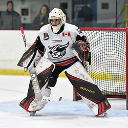 GEORGETOWN, ON - DECEMBER 22: Nathan Torchia #35 of the Georgetown Raiders protects the crease in the first period on December 22, 2018 at Gordon Alcott Memorial Arena in Georgetown, Ontario, Canada.<br /> (Photo by Ken Lamb / OJHL Images)