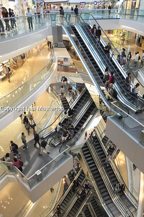 Interior of Festival Walk  shopping mall in Hong Kong