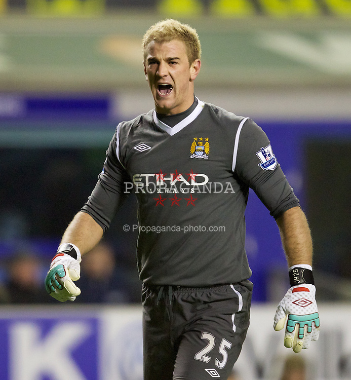 LIVERPOOL, ENGLAND - Tuesday, January 31, 2012: Manchester City's goalkeeper Joe Hart in action against Everton during the Premiership match at Goodison Park. (Pic by Vegard Grott/Propaganda)