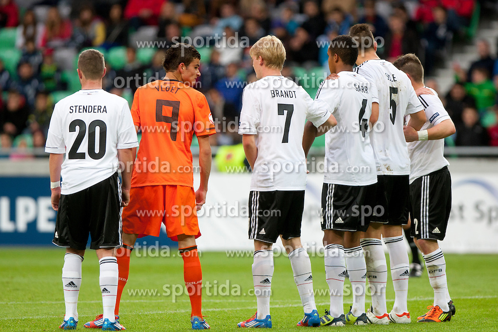 Marc Stendera of Germany, Rai Vloet of Netherlands, Julian Brandt, Marian Sarr and Niklas Suele of Germany during the UEFA European Under-17 Championship Final match between Germany and Netherlands on May 16, 2012 in SRC Stozice, Ljubljana, Slovenia. (Photo by Urban Urbanc / Sportida.com)