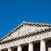 Architectural detail above the main entrance of the exterior of the Smithsonian National Museum of Natural History on the National Mall in Washington DC.