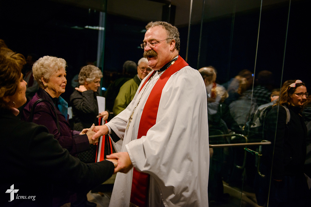 The Rev. Dr. Matthew C. Harrison, president of the LCMS, guests visitors following the 500th Anniversary of the Reformation service on Tuesday, Oct. 31, 2017, at Concordia Theological Seminary, Fort Wayne, Ind. LCMS Communications/Erik M. Lunsford