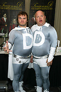"NEW YORK - NOVEMBER 3: Jack Black and Kyle Glass of Tenacious D announce 45 day fast to celebrate their DVD release ""The Complete Master Works"" at the Millennium Broadway Hotel November 3, 2003 in New York City.   (Photo by Matthew Peyton)"