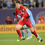 NEW YORK, NEW YORK - November 06:  Will Johnson #7 of Toronto FC is fouled by Ronald Matarrita #22 of New York City FC during the NYCFC Vs Toronto FC MLS playoff game at Yankee Stadium on November 06, 2016 in New York City. (Photo by Tim Clayton/Corbis via Getty Images)