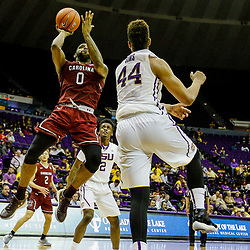 Feb 1, 2017; Baton Rouge, LA, USA; South Carolina Gamecocks guard Sindarius Thornwell (0) shoots over LSU Tigers forward Wayde Sims (44) during the second half of a game at the Pete Maravich Assembly Center. South Carolina defeated LSU 88-63. Mandatory Credit: Derick E. Hingle-USA TODAY Sports