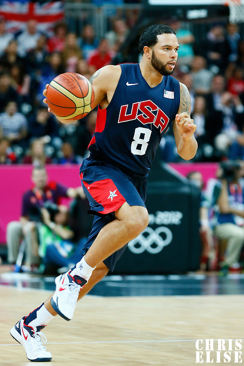 06 August 2012: USA Deron Williams brings the ball upcourt during 126-97 Team USA victory over Team Argentina, during the men's basketball preliminary, at the Basketball Arena, in London, Great Britain.