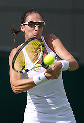 LONDON, ENGLAND - Tuesday, June 21, 2011: Arantxa Parra Santonja (ESP) in action during the Ladies' Singles 1st Round match on day two of the Wimbledon Lawn Tennis Championships at the All England Lawn Tennis and Croquet Club. (Pic by David Rawcliffe/Propaganda)
