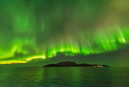 Curtains of aurora, some with a nitrogen pink fringe, arcing over an island along the Norwegian coast during a fine display on October 24, 2017. Taken from the deck of the m/s Nordlys, a Hurtigruten cruise and ferry ship. <br /> <br /> This is a single 1-second exposure with the 14mm Sigma Art lens at f/1.8 and Nikon D750 at ISO 6400.